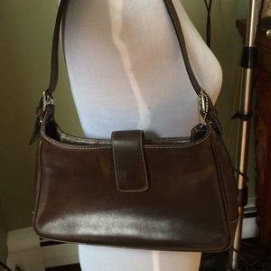 Coach brown leather medium shoulder bag purse